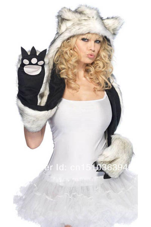 b692e422b8d Super Warm Faux Fur Winter Plush Animal Hood Hat With Paws Scarf Cat Cap  Free Shipping