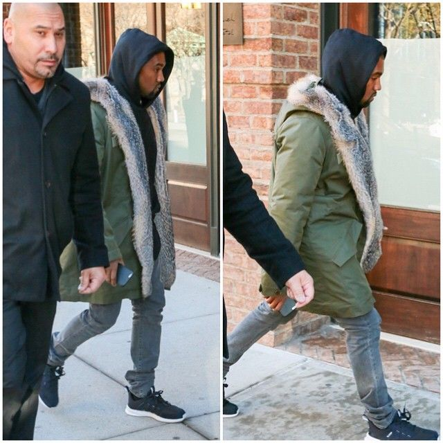 Kanye West Wears Apc Fur Lined Parka Jacket With Adidas Hoodie And Sl Loop Sneakers Upscalehype Kanye West Style Adidas Hoodie Kanye West