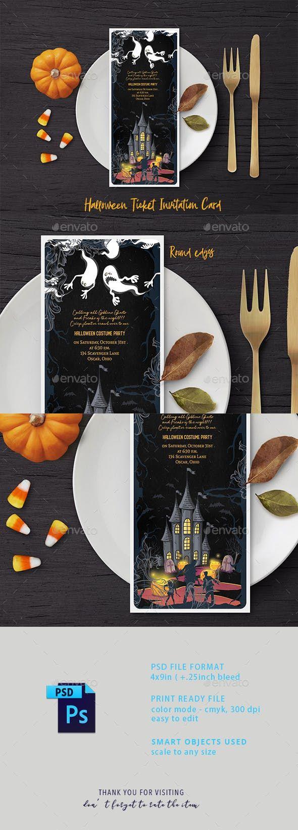 Halloween Ticket Invitation Card Ticket invitation