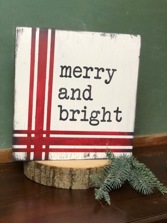 Merry and Bright Christmas Sign – Farmhouse Christmas Decor – Rustic Christmas Sign –  Fixer Upper I