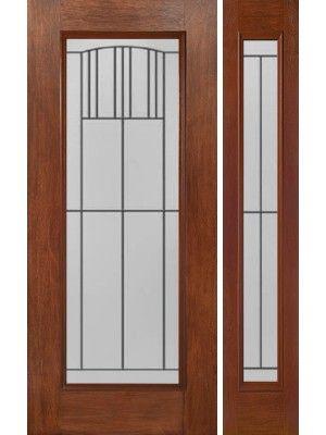 Mahogany Full Lite Exterior Single Door/1side W/ MI Glass