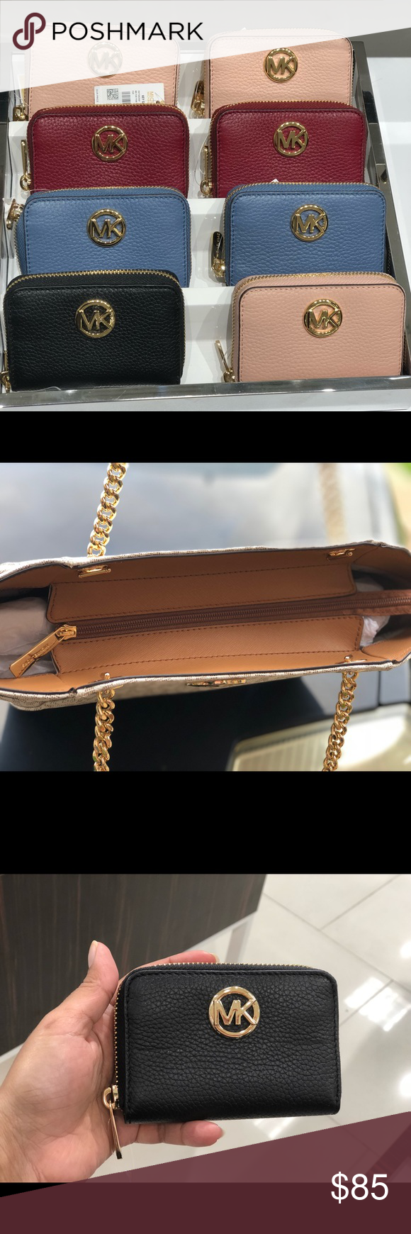4e2fc6181c2e1a Michael Kors FULTON Leather Zip Around Coin Purse NWT Michael Kors FULTON  Leather Zip Around Coin