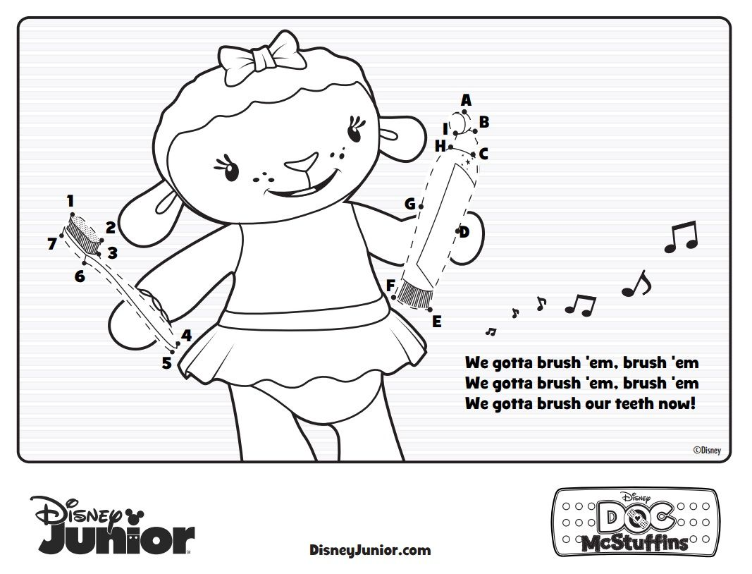 Lambie S Brush Your Teeth Song Activity Page Songs Disney