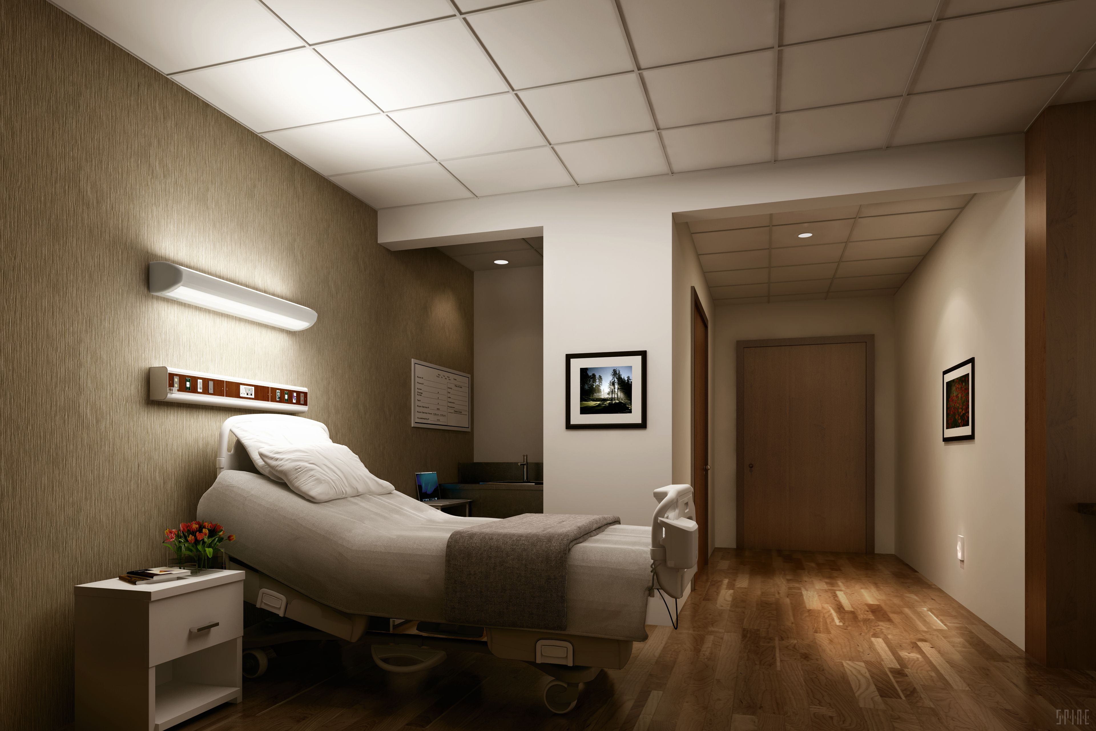 Patient bedside LED wall mounted light fixtures provide