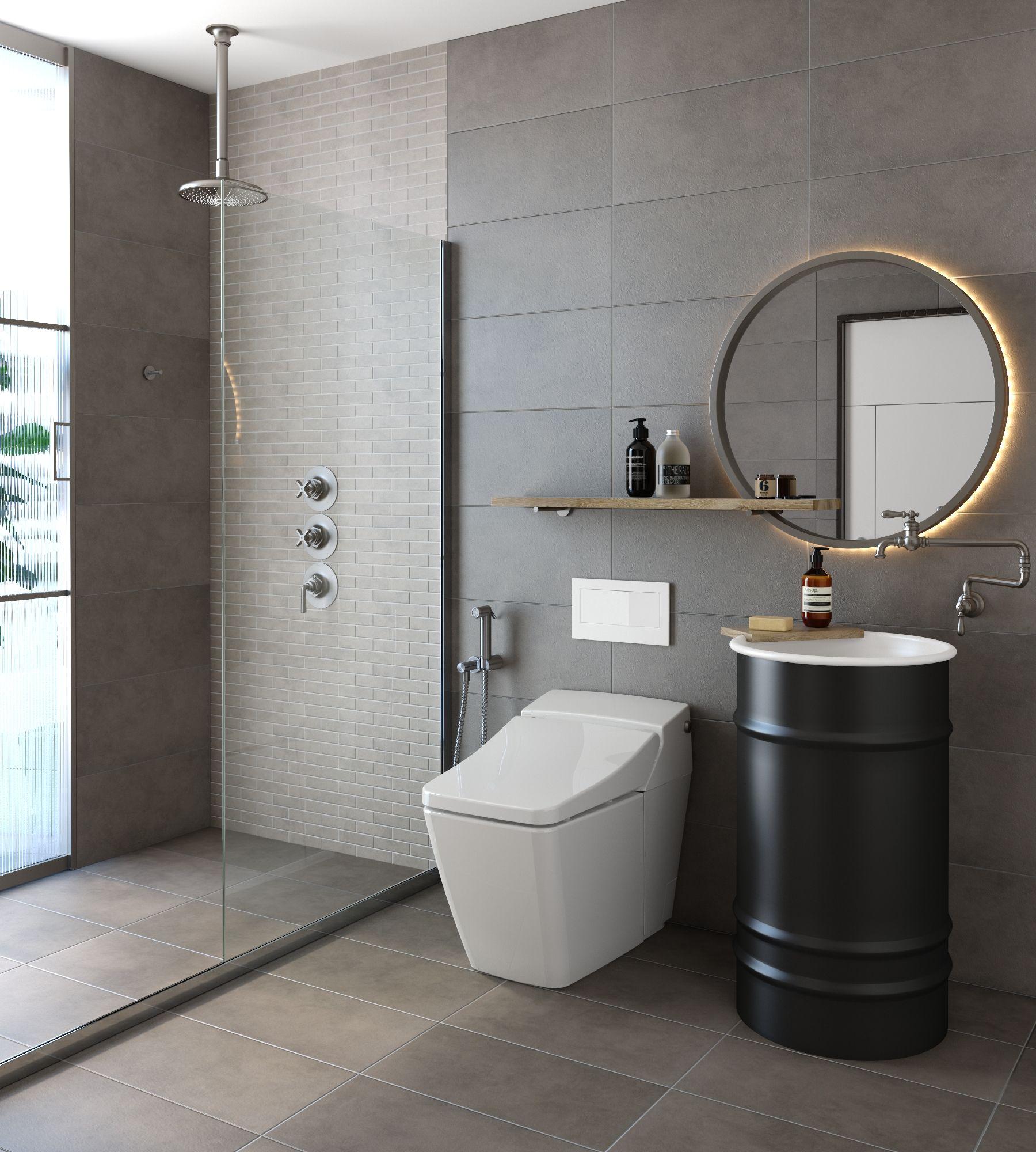 Feruni Decor Cement Bathroom Shower Washroom Toilet Minimalist Modern Porcelain C Washroom Design Ceramic Tile Floor Bathroom Ceramic Tile Bathrooms