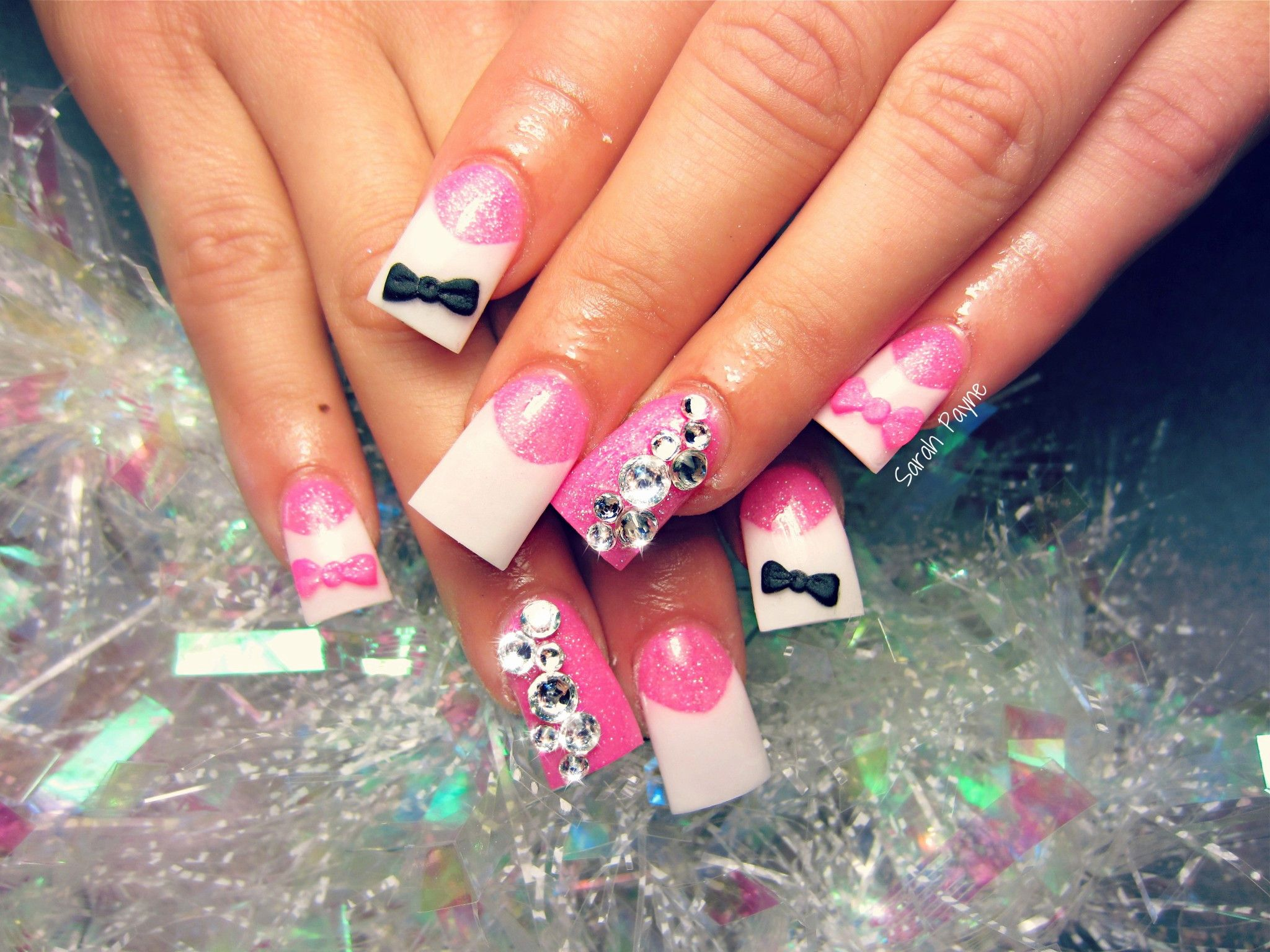 Sexy French Nail Art 3d Bows And Diamonds Nails N Things