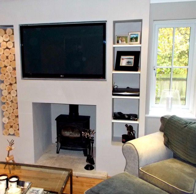 Wall Mounted Tv With Log Burner Log Burner Living Room Wood
