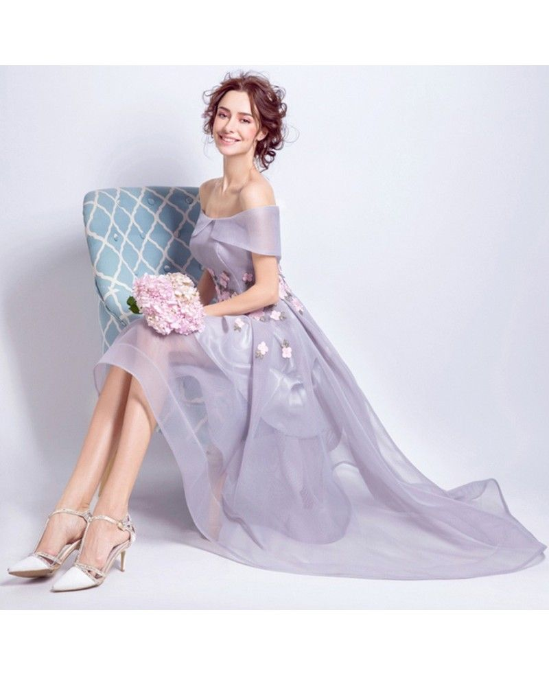 Lavender High Low Off The Shoulder Tulle Wedding Dress With