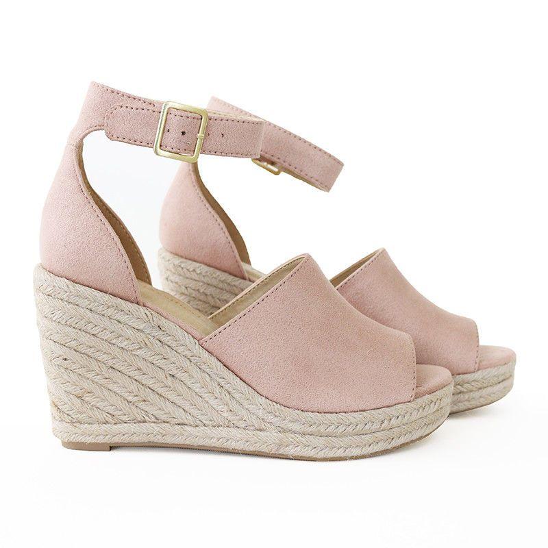 e342b9e24bf3 Vacation Essential Ankle Strap Faux Suede Espadrille Wedge Platform Sandal  Mauve  Trendyoak  Espadrilles  Casual