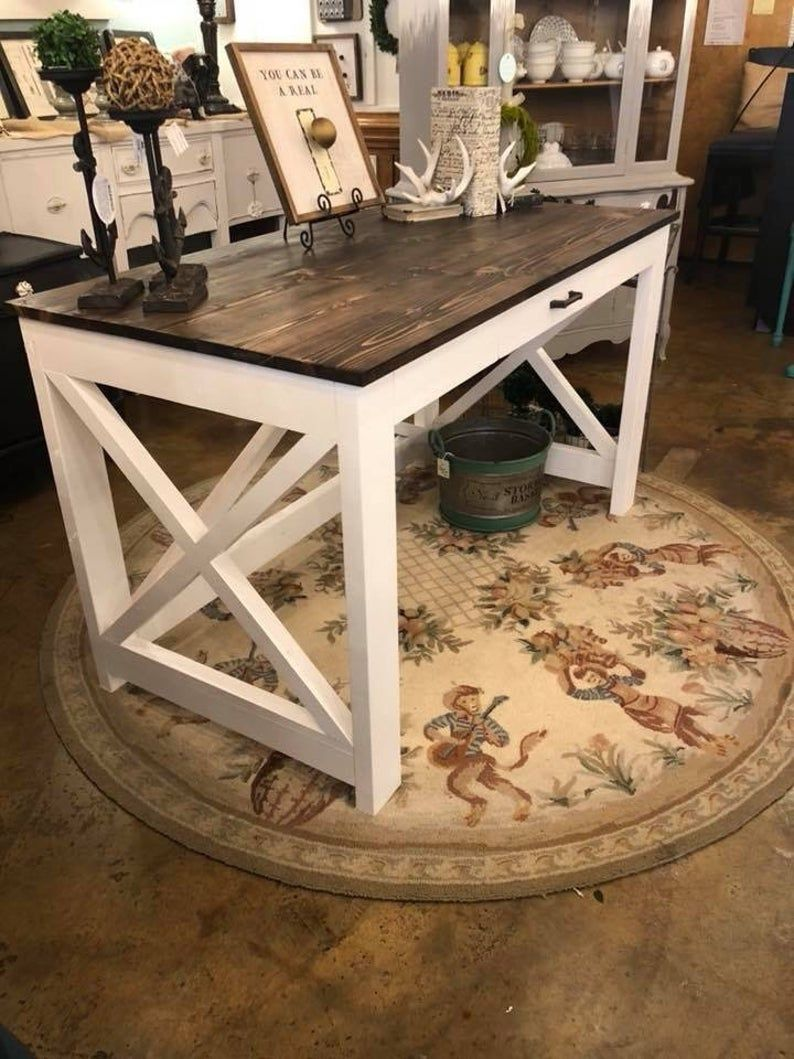 Rustic X Farmhouse Computer Desk with drawer Etsy in