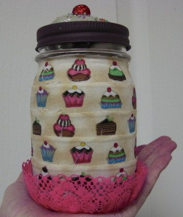 Cup Cake Decorative Mason Jar by MsBellesExpressions on Etsy, $10.00