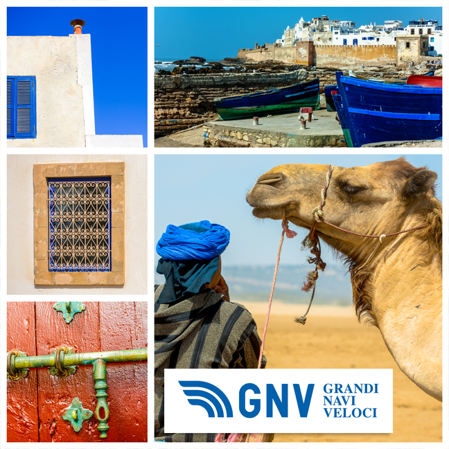 The Main Activities Maghreb , enclosed in a photo collage. Discover #GNV routes from/to #Maghreb here: www.gnv.it/en/