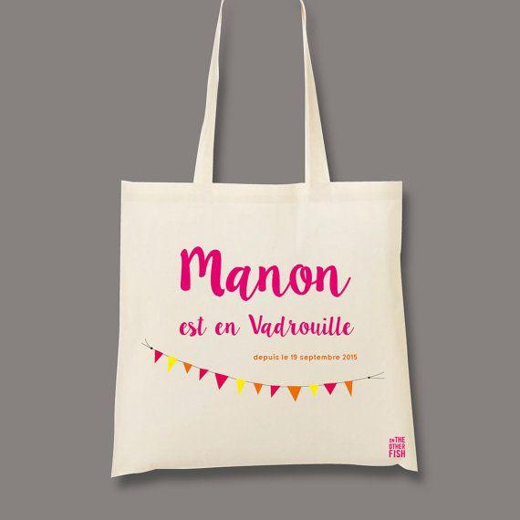 Sac Tote bag shopping blanc avec image ou prénom personnalisés