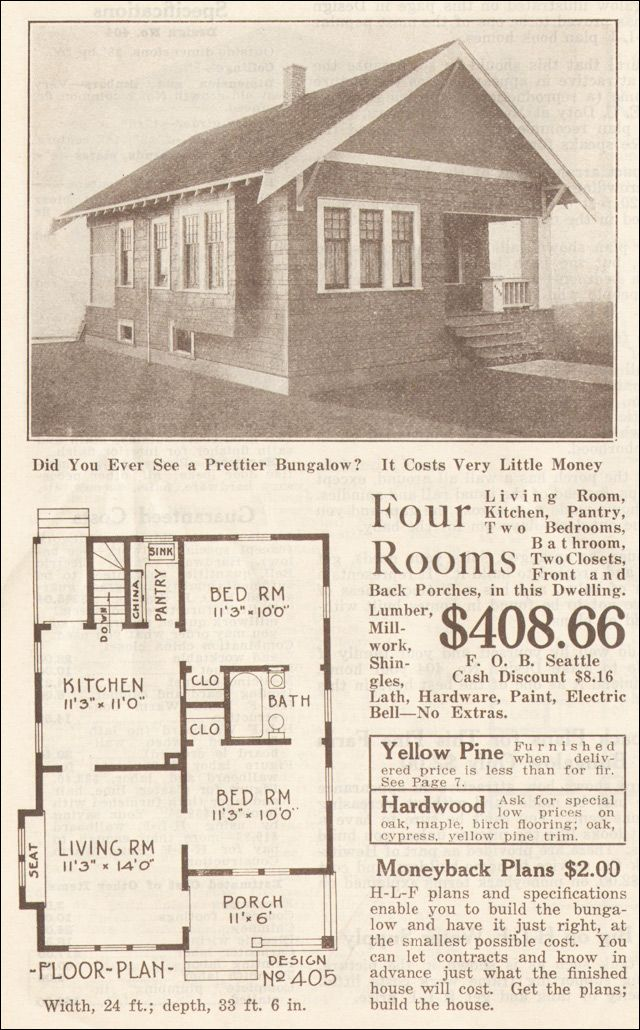 Small Artistic Bunglow 1915 Hewitt Lea Funck Company Facing Gable Wide Barge Boards Vintage House Plans Small House Floor Plans