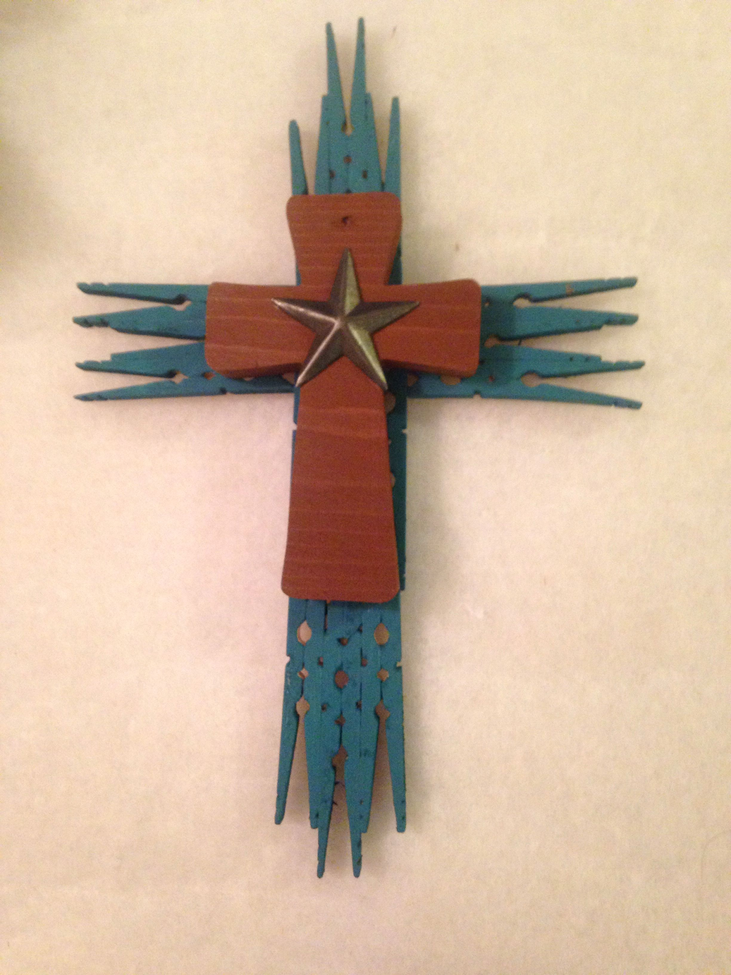 Handmade Upcycled Clothes Pin Cross Stacked Wood Cross With Western