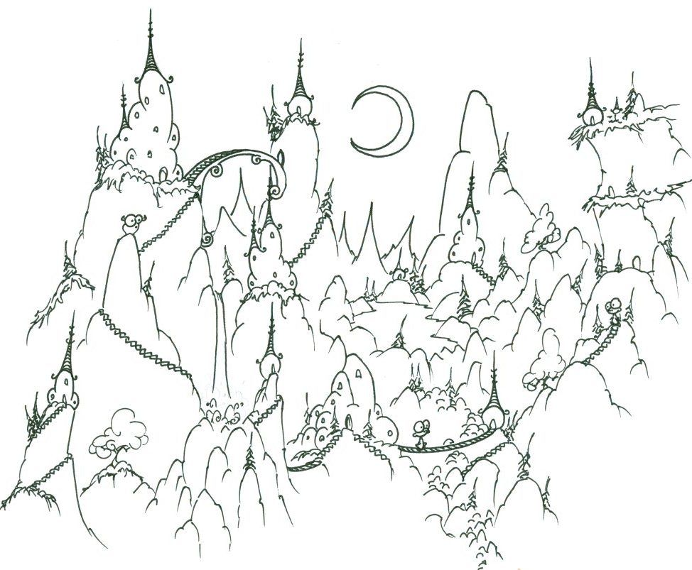 Fantasy Landscape At Night Difficult Coloring Page For Adults