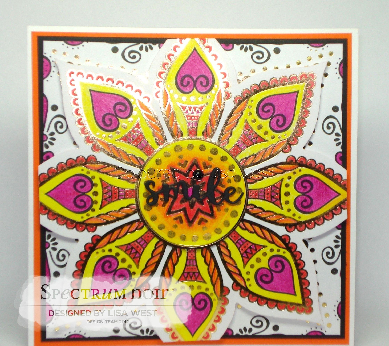 Designed by Lisa West using: Colorista Moroccan Life Pad and Colorista Pencils Sets 1 & 6 #spectrumnoir #handmadecard #colorista