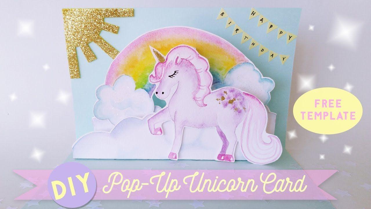 Diy Pop Up Unicorn Birthday Card Interactive Birthday Card Unicorn Birthday Cards Unicorn Card Handmade Birthday Cards