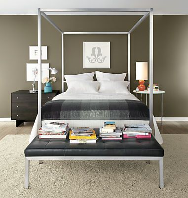 Room Board Portica Stainless Steel Canopy Bed Modern