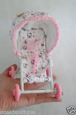 Infant Bouncy Chair Wing Back Cover Stroller / Carrier Buggy W New Seat & Hood For Mini Reborn Ooak Baby Doll 6