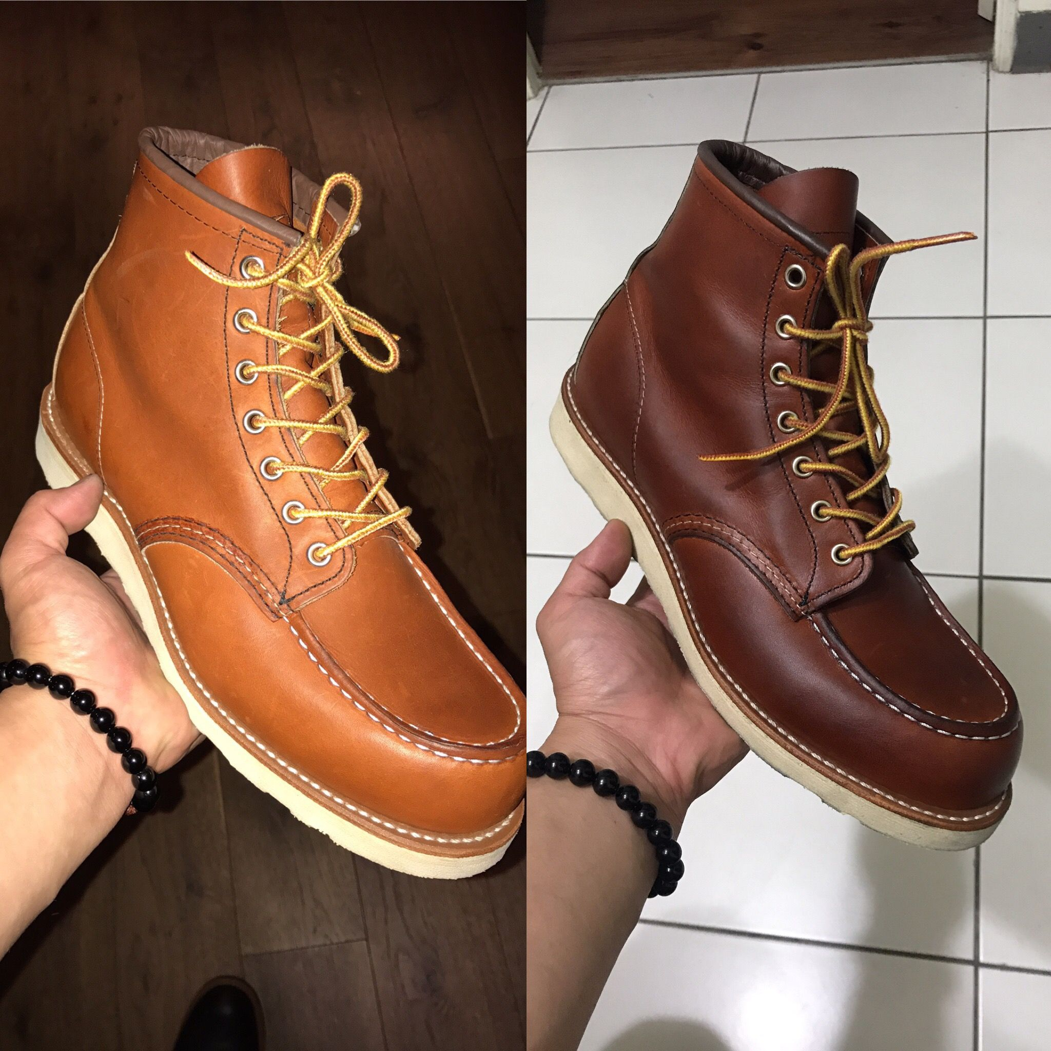 RedWing 875 moc toe before and after mink oil application