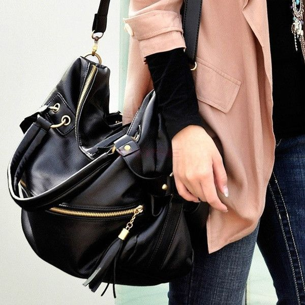 c46b7b83a0 Women Large Synthetic Leather Handbag Tassel Handbag Cross Body Shoulder Bag  18486 (Color  Black)   1745493572