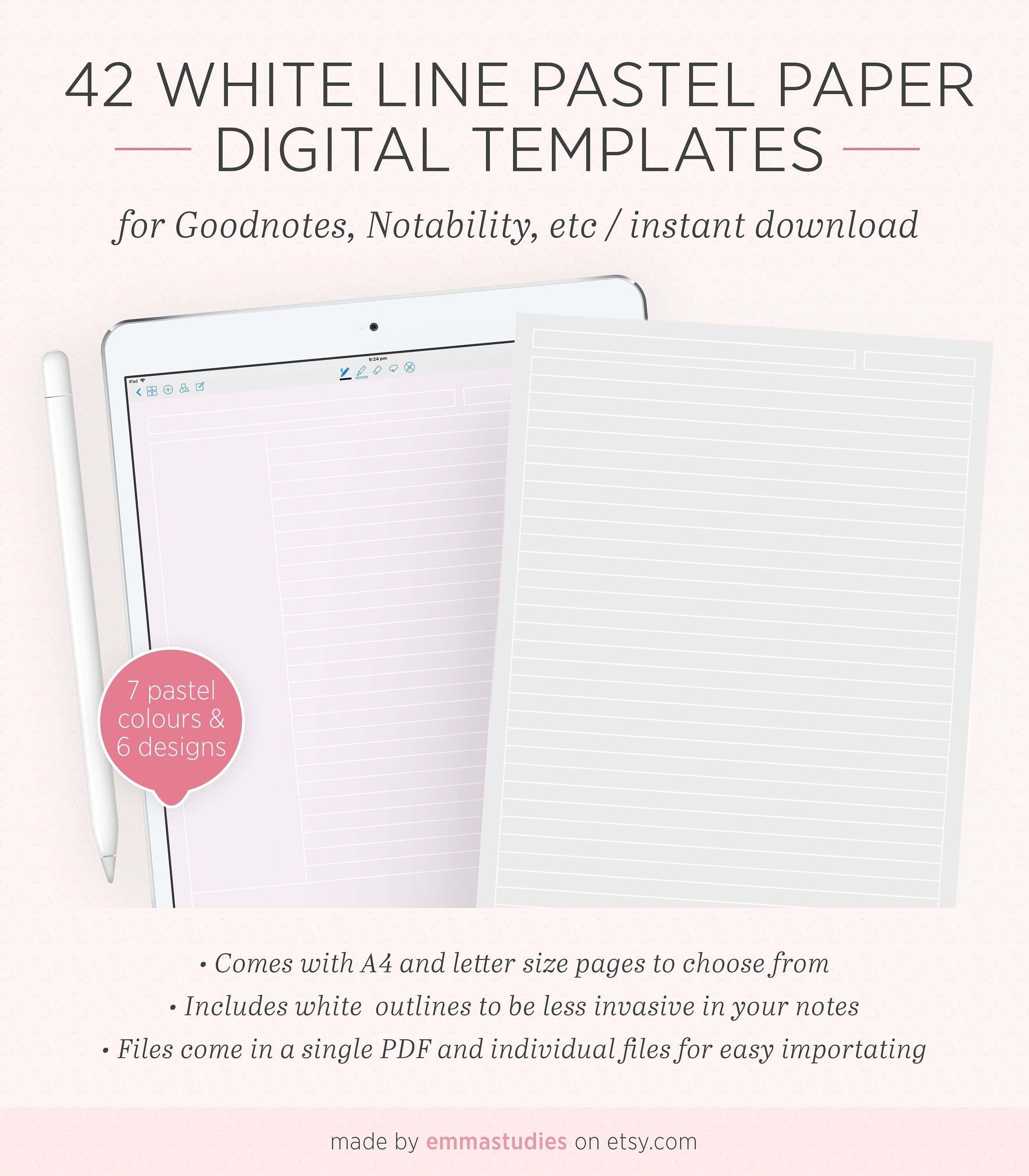 Digital Note Taking Pastel Paper Template Goodnotes Notability Ipad Tablet Lined Grid Dotted Cornell College Notebook Pages A4 Letter Paper Template Notability Ipad College Notebook