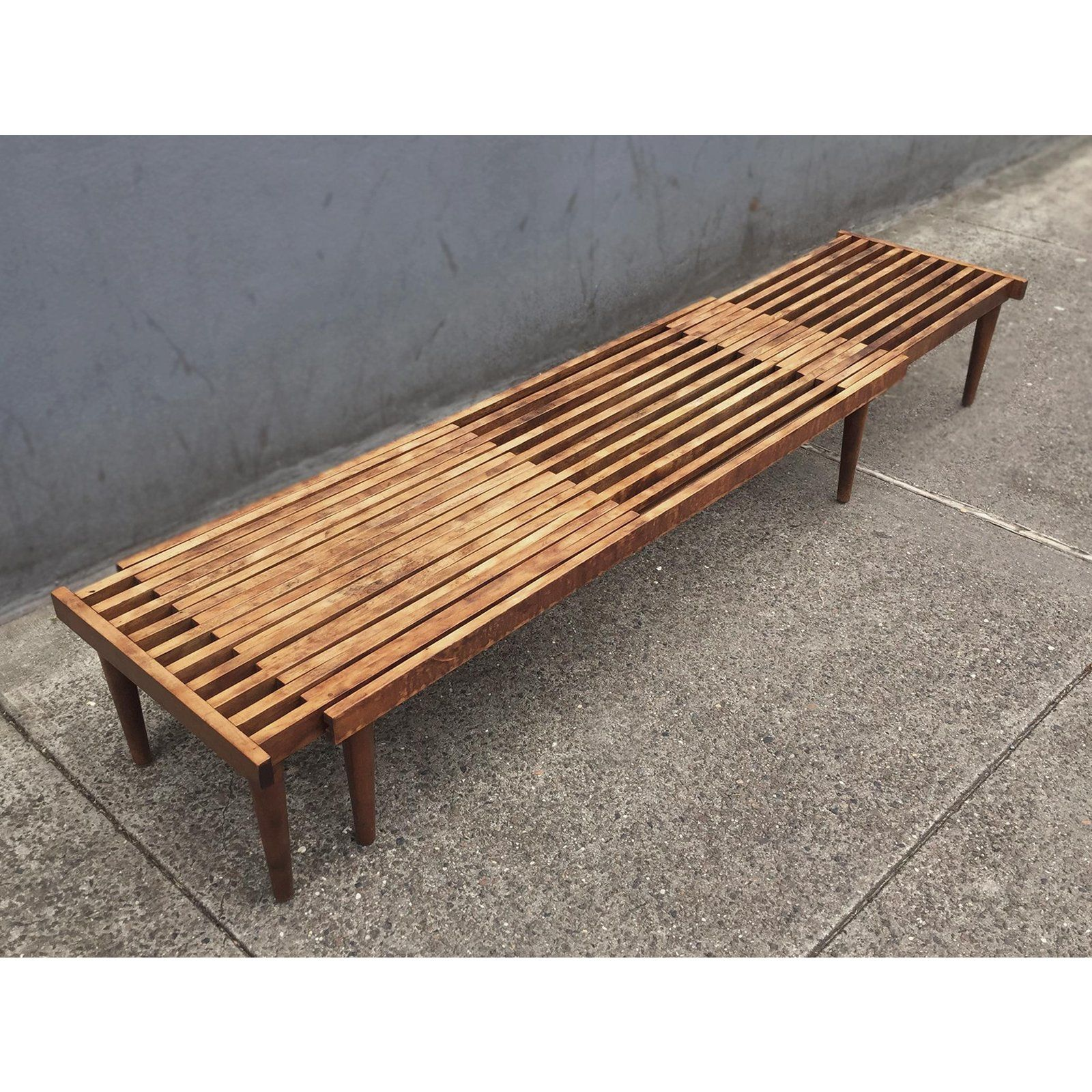 Brown Saltman Mid Century Modern Extending Slatted Bench Table By John Keal For Sale Image 4 Of 13 Outdoor Bench Table Bench Table Table