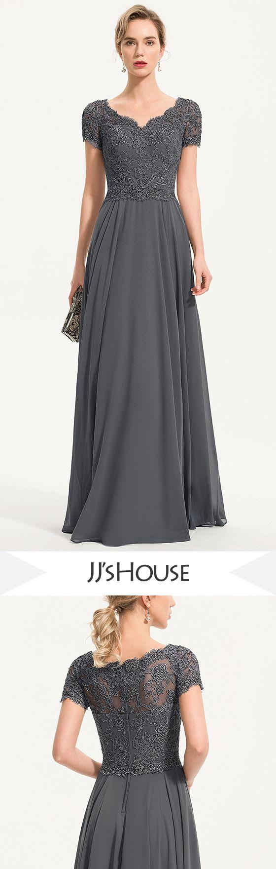 Photo of $199 A-Line V-neck Floor-Length Chiffon Evening Dress With B…