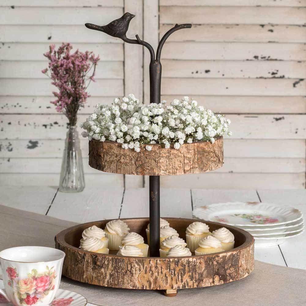 Primitive 2 Tier Bird&Birch Tray Stand Kitchen,Vanity