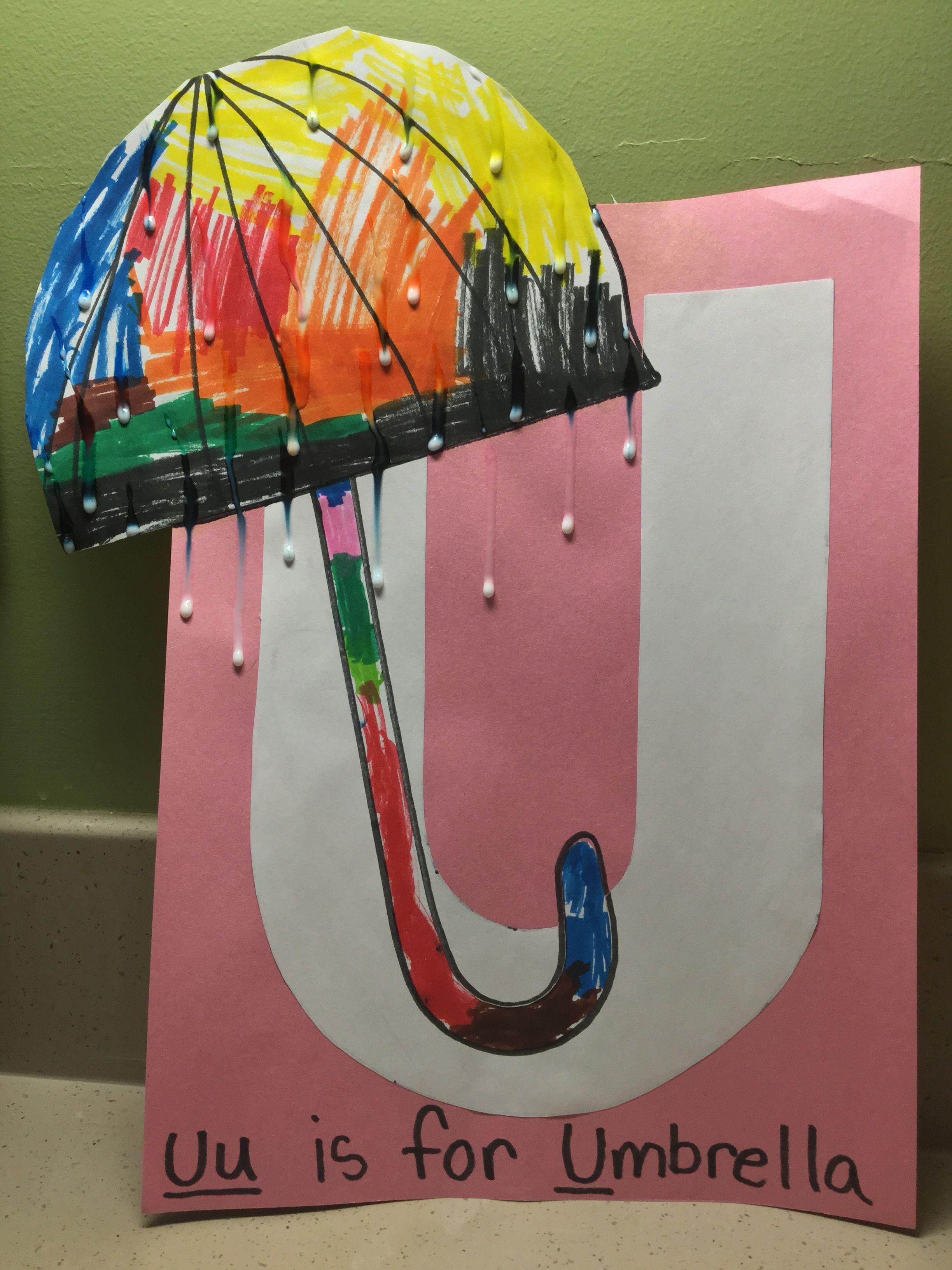 U Is For Umbrella Letter U Craft Preschool Glue Raindrops