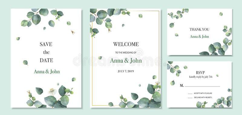Watercolor Vector Set Wedding Invitation Card Template Design With Wedding Invitation Card Template Watercolor Floral Wedding Invitations Wedding Illustration