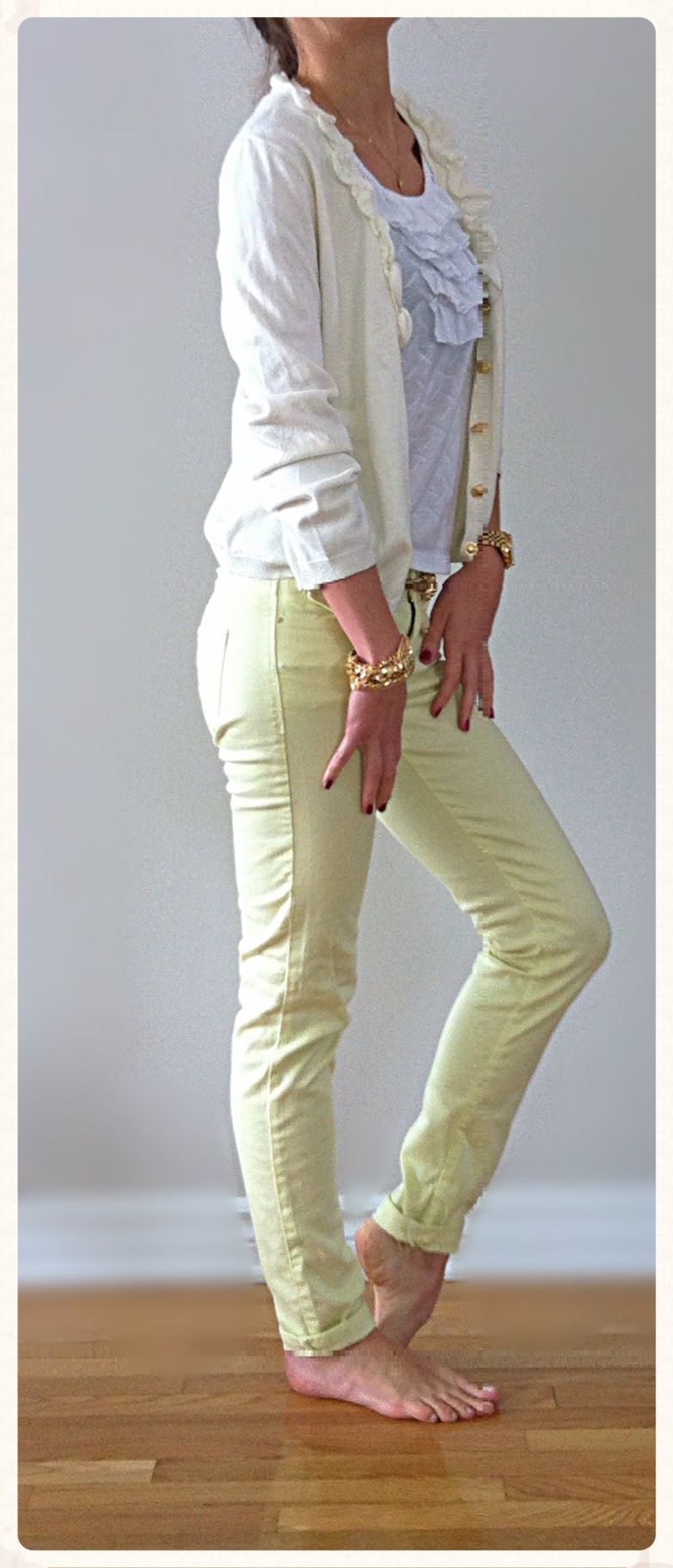 702ed34838 Light summer look- ruffled off white & gold buttoned down cardigan, Zara  yellow pants & gold belt & ruffled white top, MK gold watch, gold jewelry