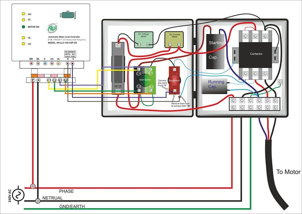 Single Phase Submersible Pump Starter Wiring Diagram On Water Control Panel Inside To Submersible Pump Submersible Electrical Circuit Diagram