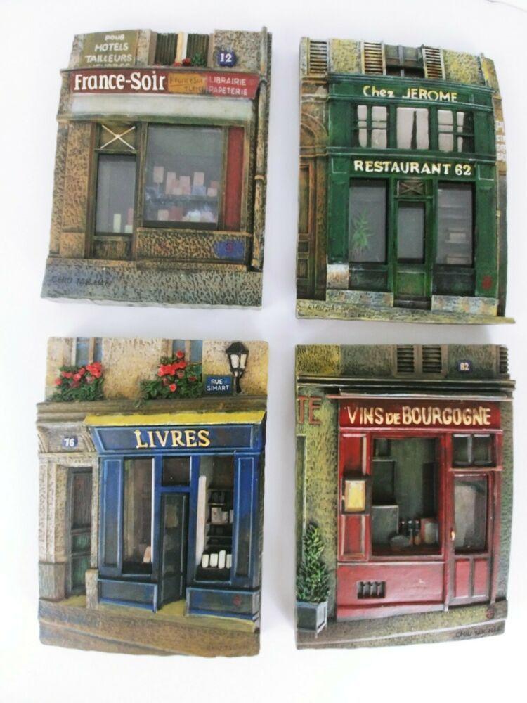 Set of 4 Parisian Storefront Wall Plaques Artwork by Chiu