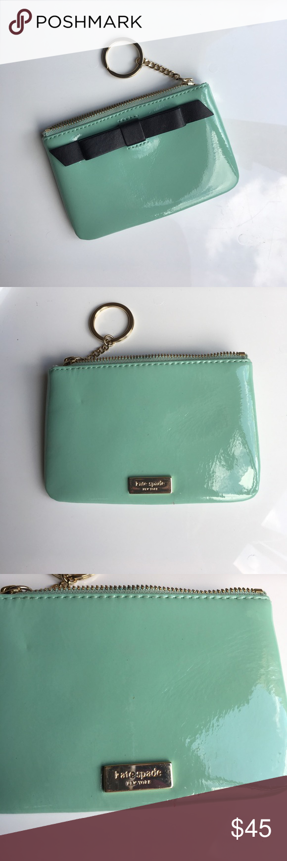 Kate spade mint green bow coin purse Super adorable mint green patent leather coin pouch kate spade Bags Clutches & Wristlets