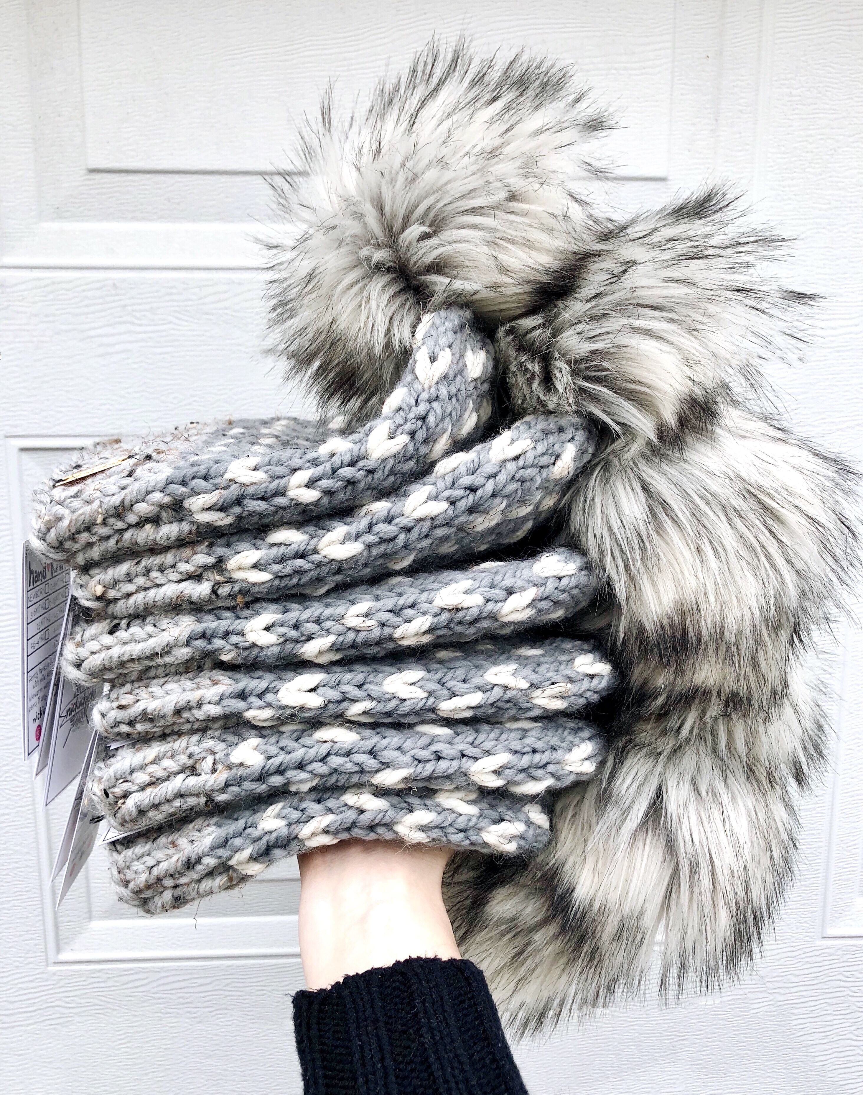cd435291af17d6 #Nickichicki Shades of Gray Grey faux fur beanie hat. Fall winter womens  style. Cozy. Hygge. Small women owned business. Handmade. Gray hat. Grey hat .