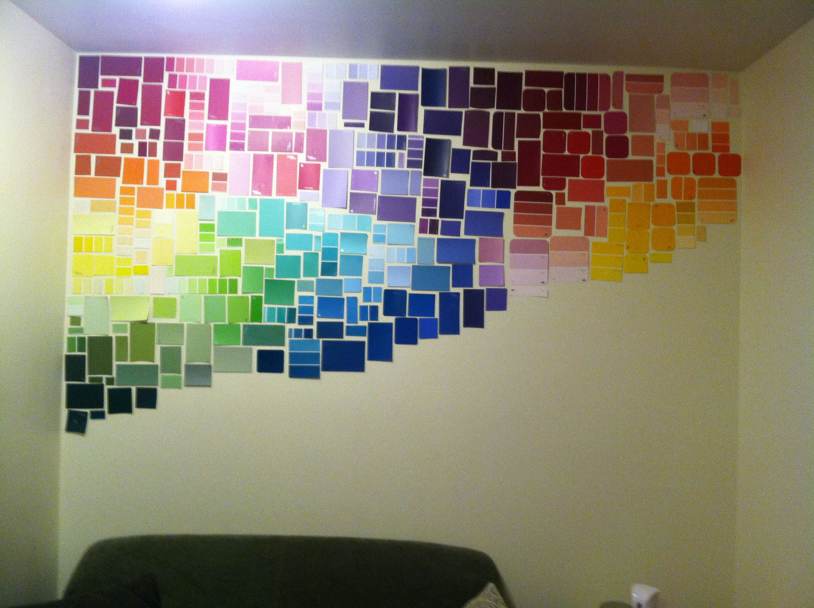 This modern + creative diy wall covering idea? Created with paint ...