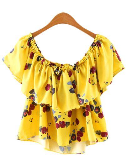e16ae44b2577 Blusa hombro al aire volantes flores -amrillo | :::...Outfit..::: en ...