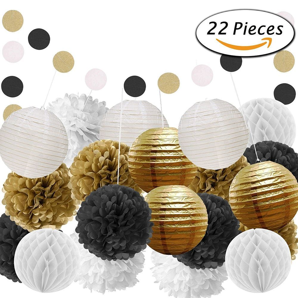 Details About Black And Gold Party Decorations For Birthday