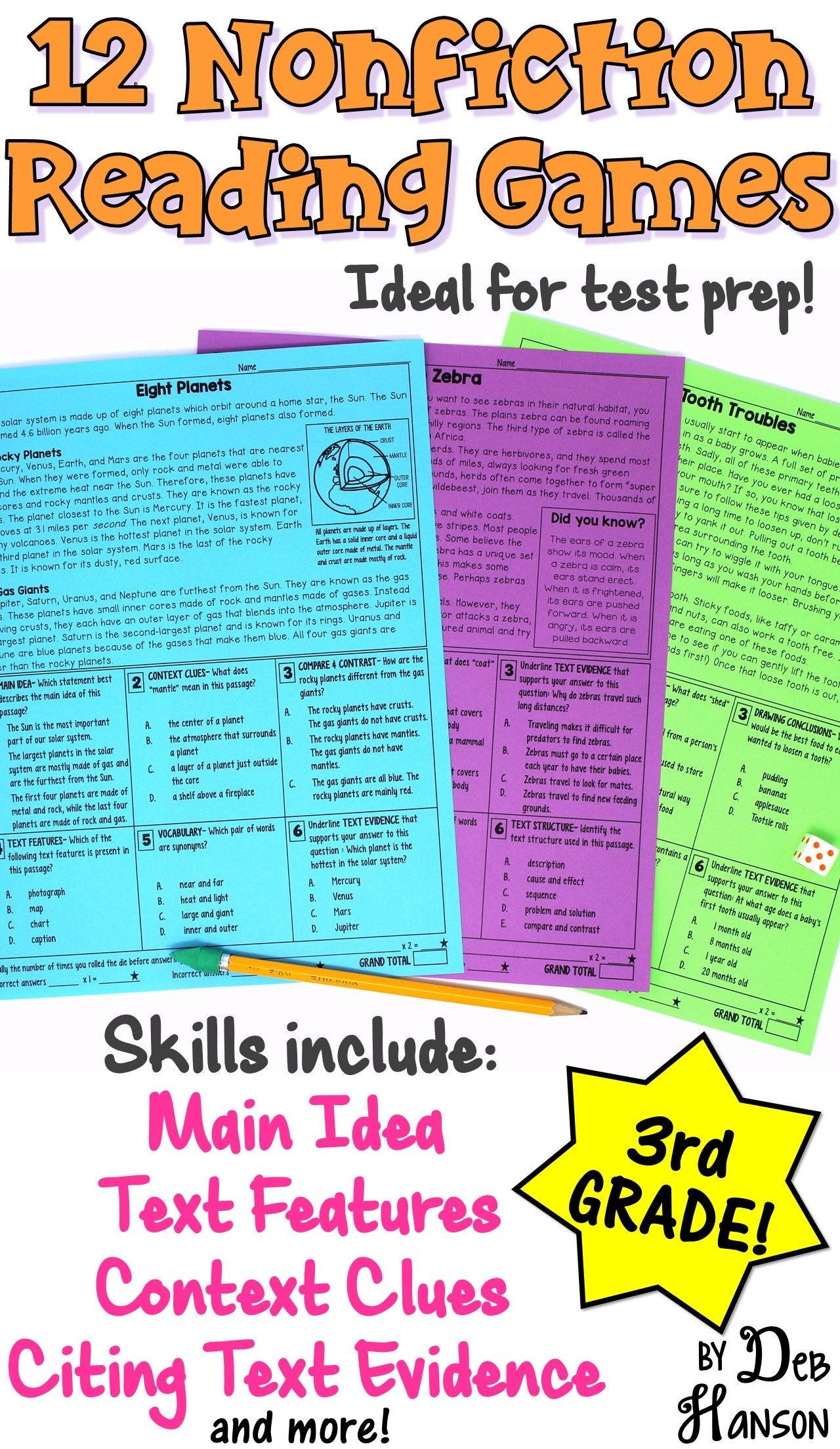 Reading Games For 3rd Grade 12 Nonfiction Passages