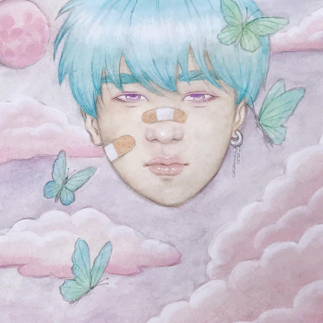 "Blush Bunnie on Instagram: ""it's okay if it hurts 🦋  Head in the clouds series, watercolor  #art #fantasyart #surrealart #ethereal #instadraw #artoninstagram…"""