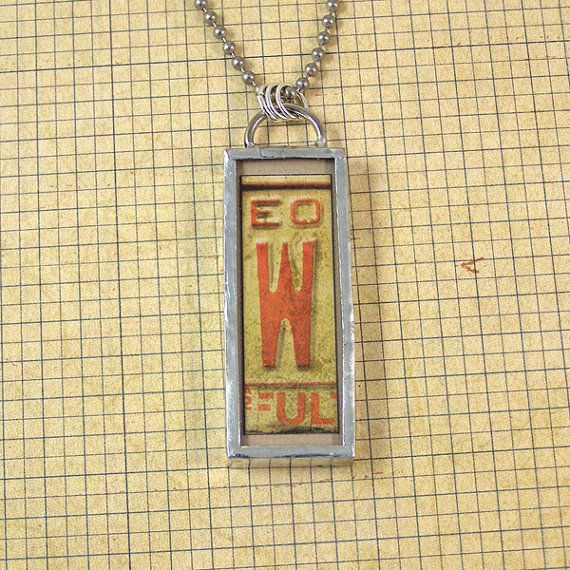 Letter W and Vintage Rickrack Double Sided Necklace by XOHandworks