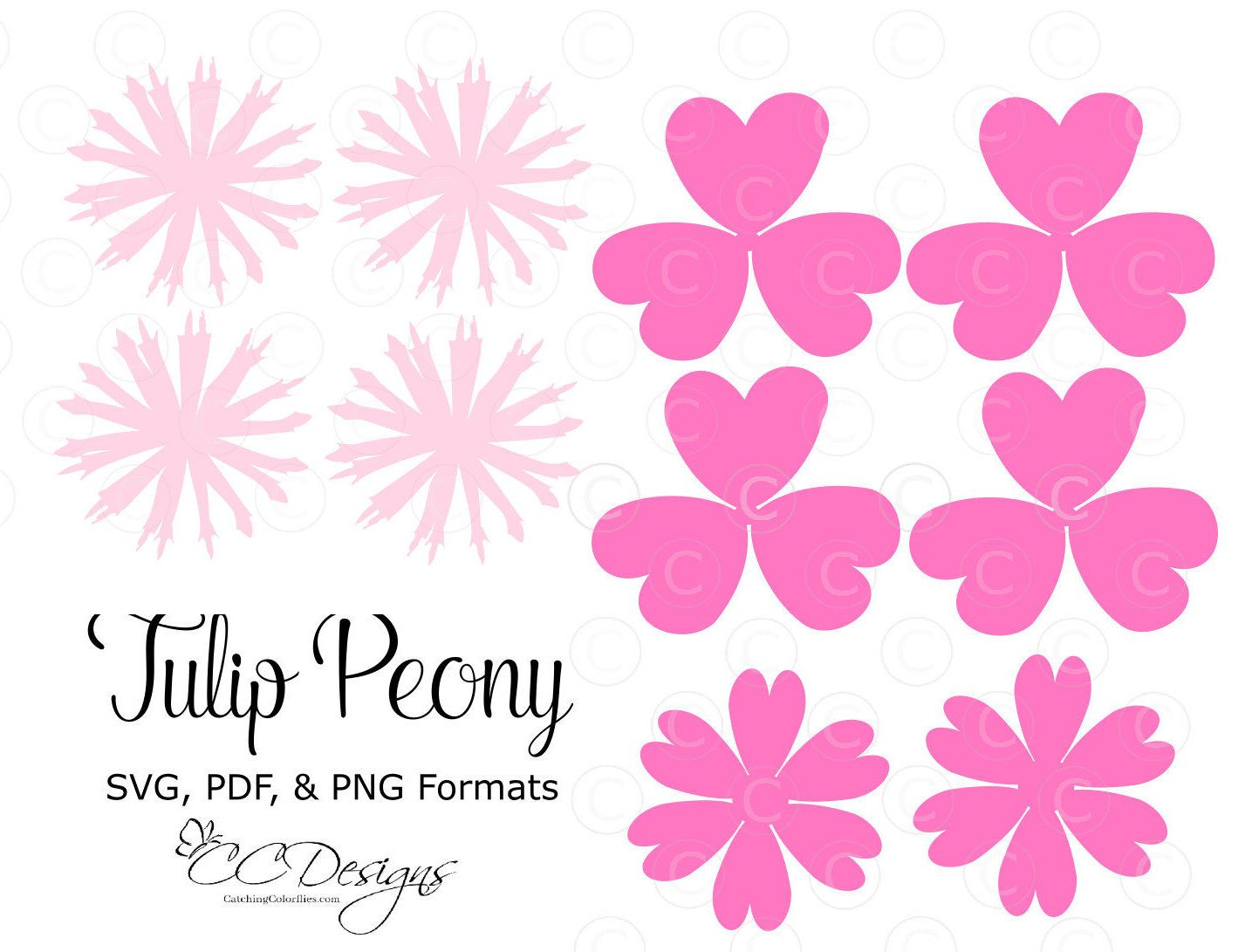 Tulip peony paper flower templates diy paper flower kit svg cut tulip peony paper flower templates diy paper flower kit svg cut files printable pdf templates mightylinksfo