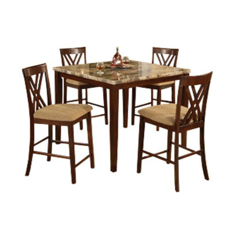 Faux Marble Counter Height Fancy X Back Dining Set - 11907