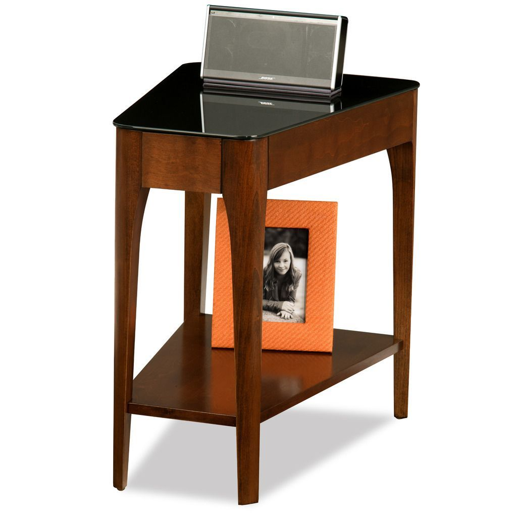 Copper Grove Hemerchestnut Finish Wood Wedge Side Table With Black Glass Top Glass Top End Tables Wedge End Table End Tables