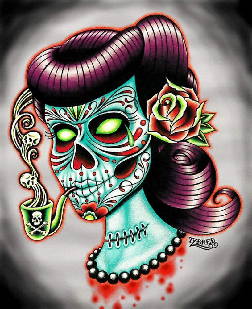 Poison By Tyler Bredeweg Goth Psychobilly Sugar Skull Canvas Art
