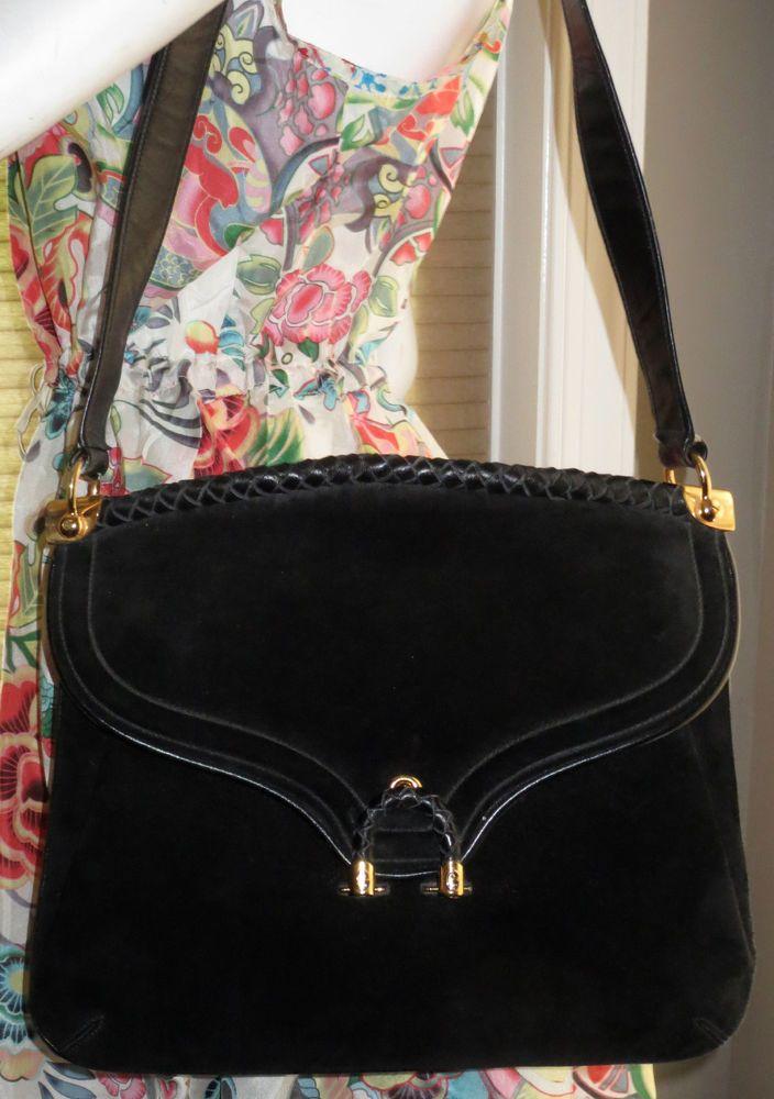 1c60ea6ae562 vintage GUCCI purse bag handbag equestrian BLACK SUEDE #Gucci #Unspecified