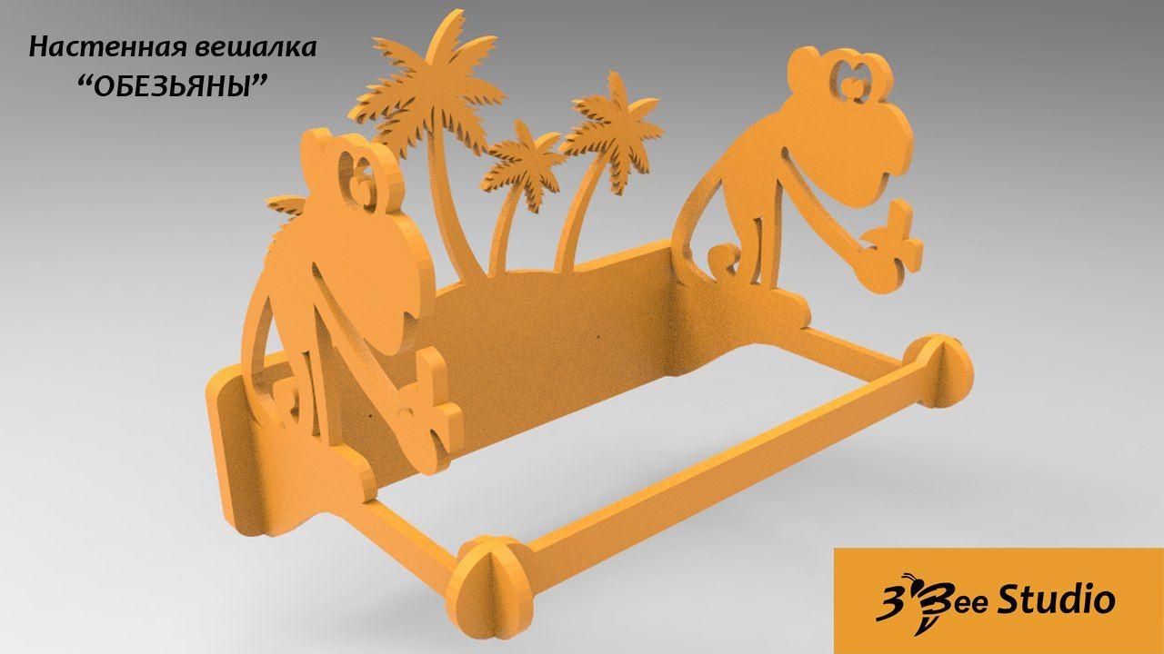 3d Puzzle Hanger Monkey Cnc Drawing Dxf Plan  # Beestudio Muebles