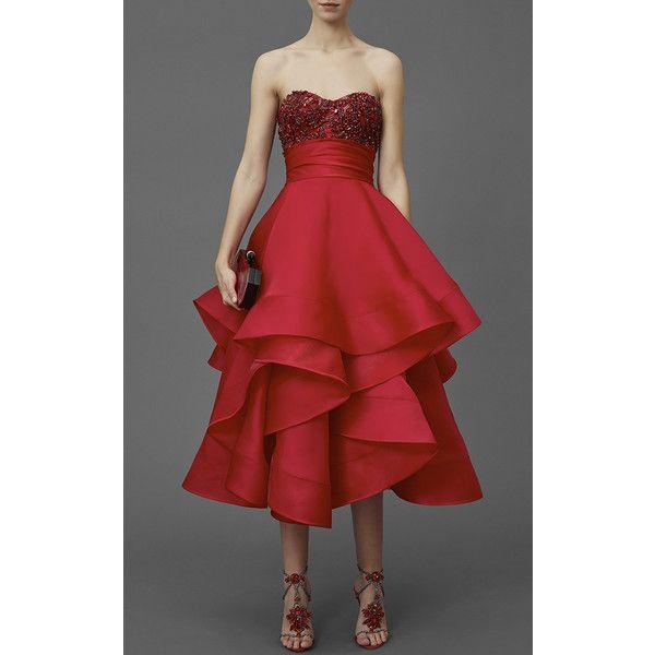 strapless satin tea length dress with beading